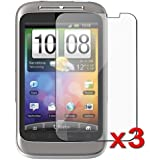 eForCity Three Clear Screen Protectors / Covers Compatible with HTC Wildfire S