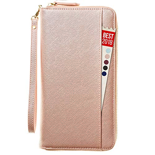Travel Document Organizer - RFID Passport Wallet Case Family Holder Id Wristlet (Rose Gold) - Dual Zip Wallet Organizer