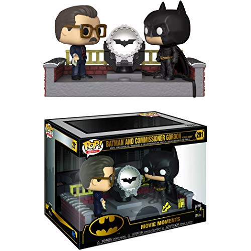 Batman vs Commissioner Gordon [Batman Begins]: Fun ko P o p ! Movie Moment Vinyl Figure Bundle with 1 Compatible Theme Trading Card (291 - 37258)