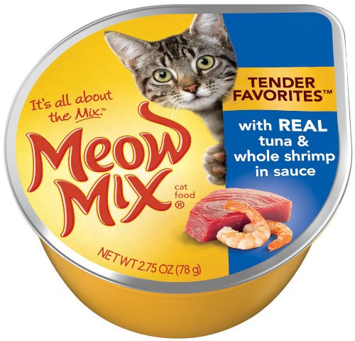 Meow Mix Tender Favorites Real Tuna and Whole Shrimp in Sauce, 2.75-Ounce Cups (Pack of 24), My Pet Supplies