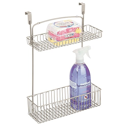 mDesign Metal Farmhouse Over Cabinet Kitchen Storage Organizer Holder or Basket - Hang Over Cabinet Doors in Kitchen/Pantry - Holds Dish Soap, Window Cleaner, Sponges - ()