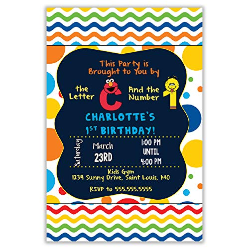 The Melange Market Custom Invitation - Sesame Street, Elmo, Big Bird, Primary Colors, Birthday, Shower -