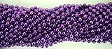 33 Inch 07mm Round Metallic Purple Mardi Gras Beads - 6 Dozen (72 Necklaces)