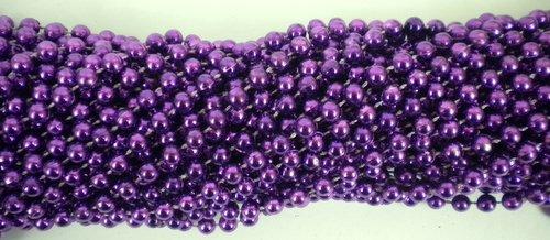 Mardi Gras beads 33 Inch 07mm Round Metallic Purple 6 Dozen (72 Necklaces) by Mardi Gras beads