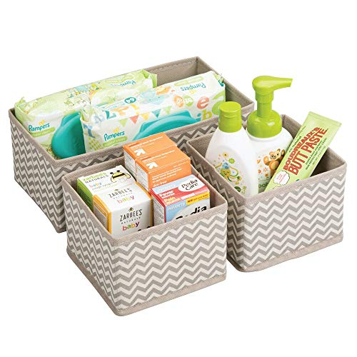 mDesign Soft Fabric Dresser Drawer and Closet Storage Organizer for Kids/Toddler Room, Nursery, Playroom, Bedroom - Chevron Zig-Zag Print - Organizing Bins in 2 Sizes - Set of 3 - Taupe/Natural