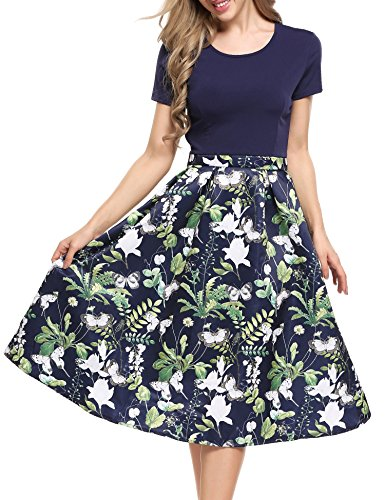 GEESENSS Women's Vintage Patchwork A-Line Casual Swing Dress,Deep (Garden Party Dress)