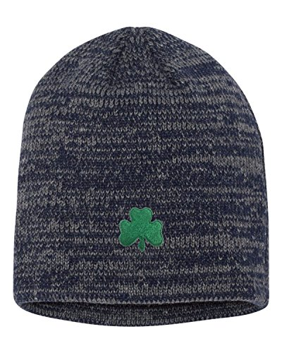 Patricks Day Knit Cap (Go All Out Screenprinting One Size Navy/Dark Grey Adult Shamrock St. Patrick's Day Embroidered Marled Knit Beanie Cap)