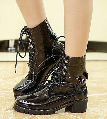 Heels Lace IDIFU Booties Ankle Black Up Mid Retro Womens Chunky Martin 1XqxqRaIw