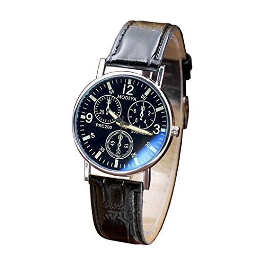 LtrottedJ Six Pin Watches Quartz Men's Watch,Blue Glass Belt Watch Men (Black) ()