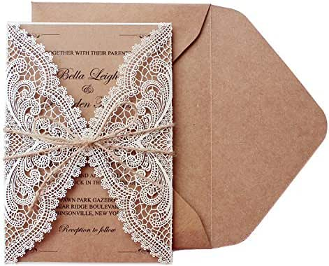 Picky Bride 50Pcs Vintage Lace Wedding Invitations Bridal Shower Invite Cards Birthday Invitations Rustic Wedding - Set of 50pcs