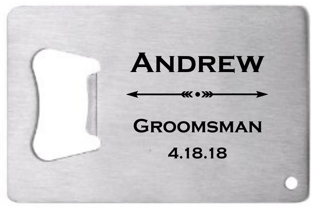 Lazer Designs Groomsman Credit Card Bottle Opener Personalized Monogrammed For Free Stainless Steel Arrows 3 Pcs