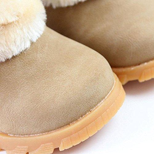 YaoDgFa Baby Mädchen Stiefel Schuhe Schnee Winterstiefel Winterschuhe Schneestiefel Stiefeletten Warme Kinder Kleinkindschuhe Fell Boots gefüttert Schlupfstiefel Winter Braun
