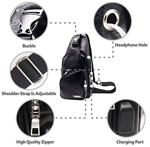 Triangle Bag Bags Charging Lightweight Shoulder Sling Sport Headphone Port Tactical Backpack Casual Packs Chest Jack Black And Body Cross With vw4ddqU