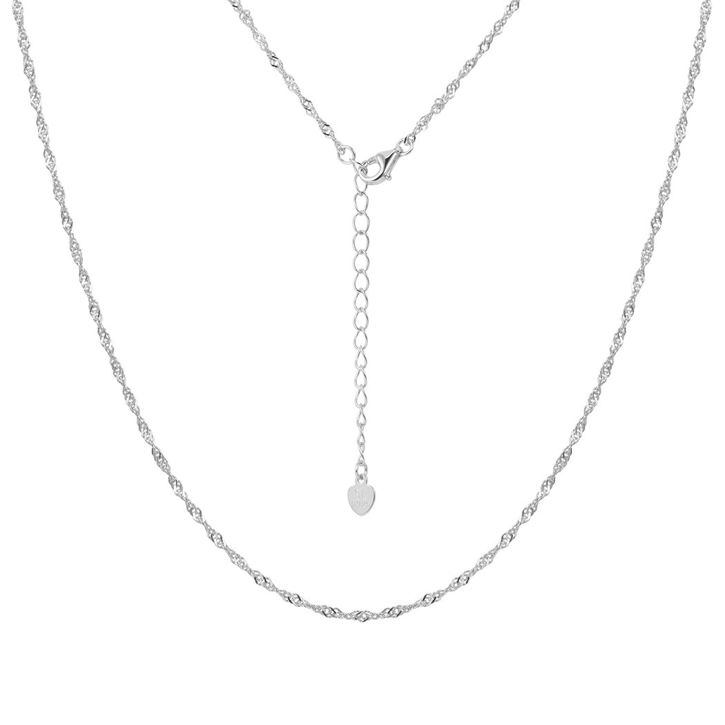 Solid 925 Sterling Silver Chain for Women Cable Rolo Singapore Chains Nickel-free 1mm Box Chain Necklace, 18-22 Inch 18 SILVERCUTE Jewelry SCN6046K-18