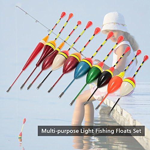 Lixada 10pcs Multi-purpose Light Floaters Fishing Floats Set Buoyant Bite Strike Indicator Float Buoy Fishing Angling Equipment