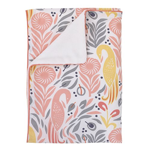 Dwell Studio Boheme Peacock/Floral Print Double Sided Cotton/Velour Blanket, Peach/Gold/Gray