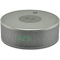 Bluetooth Wireless Charging Speakers, Dual Speaker Double Diaphragm Super Bass with Clock Fast Connection/AUX/TF Card/NFC/FM Radio Disc Integrated Digital Bluetooth Speaker(Grey)