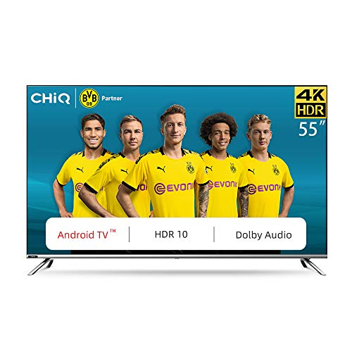 CHiQ U55H7 4K LED Smart TV, UHD, 55 Inch, Android 9.0, HDR10, A+ Screen, WiFi, Bluetooth 5.0, Netflix, YouTube, Prime Video, Full screen display, HDMI, USB
