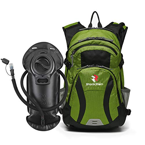 (ROCKRAIN WindSeeker Insulation Hydration Cycling Backpack Pack with 2.5L BPA Free Leak Proof Water Bladder, Sufficient Storage Space for Outdoor Gear- Perfect for Cycling (Green))