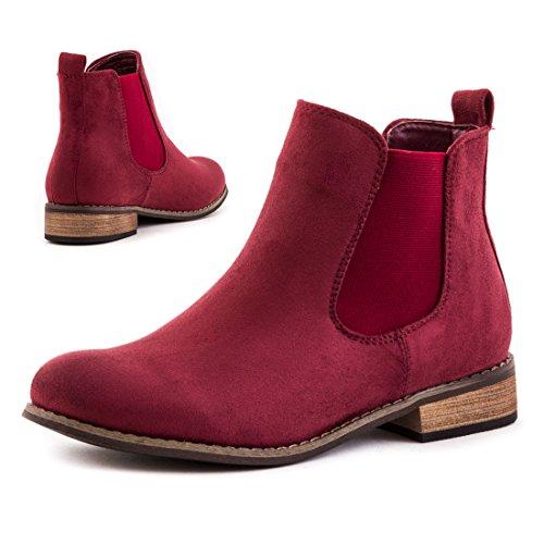 Stylische Schlupf Stiefeletten Ankle Worker Boots in hochwertiger Lederoptik Weinrot Wildlederoptik