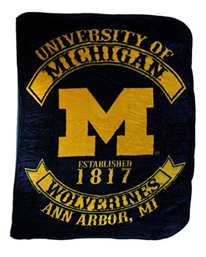 Northwest Polyester Throw Blankets University of Michigan Wolverines Royal Plush Raschel Throw Blanket 80 X 0.5 X 60 Inches Yellow