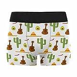 InterestPrint Custom Men's Boxer Briefs Mexico Guitar Music Cactus Plant Sombrero Hat Avocado Fruit XL