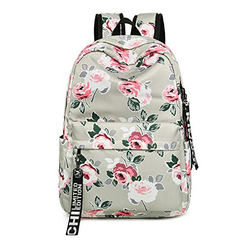 Beancan Fashion Waterproof Nylon Backpack Flower Print School Girls Daily College Laptop Bagpack Gray With ()