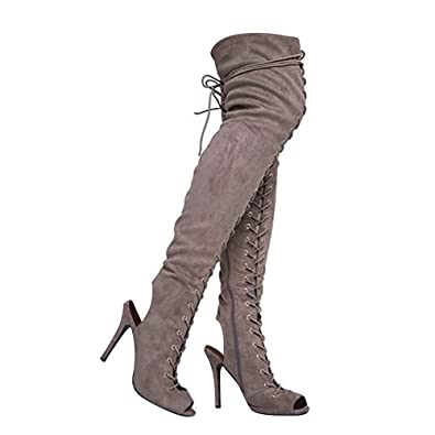 dd606cfb3c0 Breckelle s Womens Randi-23 Faux Suede Lace Up Back Thigh High Boots Beige  Taupe