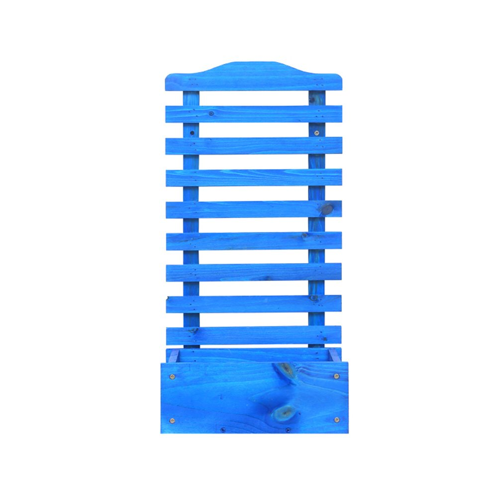 LXLA- Windowsillソリッドウッドフラワーポットスタンドバルコニーウォールマウントプランターディスプレイシェルフ壁に鉢植えプラントラック (色 : 青) B07DCRHHQF 青 青
