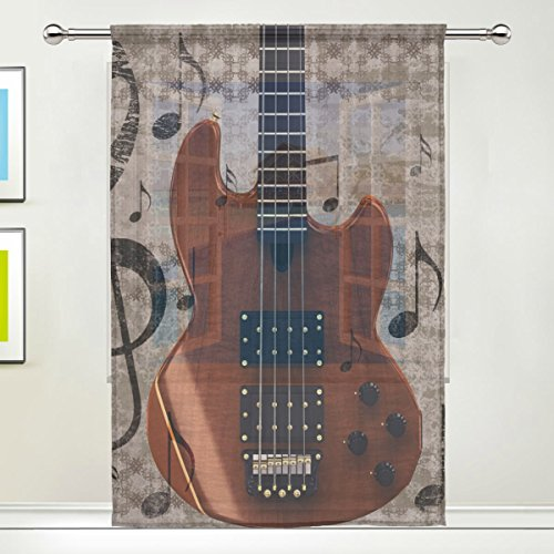Vintage Music Note Guitar for Home Kitchen Bedroom Living Room 55x78 inches, 1 panel (Vintage Guitars Net)