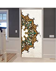 Deurbehang Zelfklevende Deursticker Exquise Halve Mandala Bloem Olieverfschilderij Posterbehang Waterdicht 90 x 200 cm