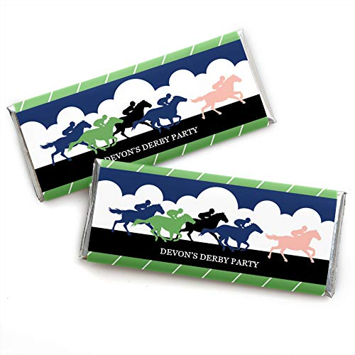Personalized Kentucky Horse Derby - Custom Horse Race Party Favors Candy Bar Wrapper - Set of 24 ()