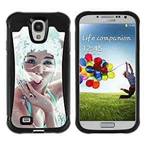 A-type Arte & diseño Anti-Slip Shockproof TPU Fundas Cover Cubre Case para Samsung Galaxy S4 IV (I9500 / I9505 / I9505G) / SGH-i337 ( Elegant Woman Smoking )