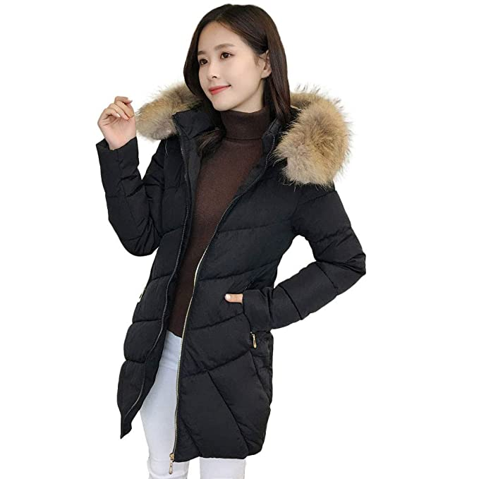 Winter Women Outwear, Limsea 2018 Slim Fit Casual Big Fur Collar Hoodie Long Coat Jacket at Amazon Womens Clothing store: