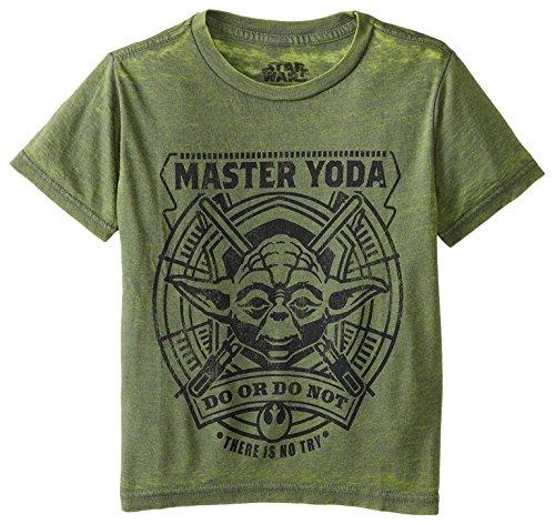 Juvy Heather T-shirt - Star Wars Little Boys' Yoda Zen Juvy T-Shirt, Green Heather, 5/6 (Medium)