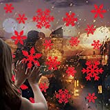 Iusun Christmas Snowflake Pattern Wall Stickers DIY Mobile Creative Glass Window Door Decals for Bedroom Living Room Restaurant Mall Xmas Decoration (Red)
