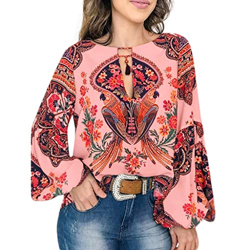 〓COOlCCI〓Women Summer Casual V-Neck Floral Print Long Sleeve Lantern Sleeve Boho Top Blouse T Shirt Red