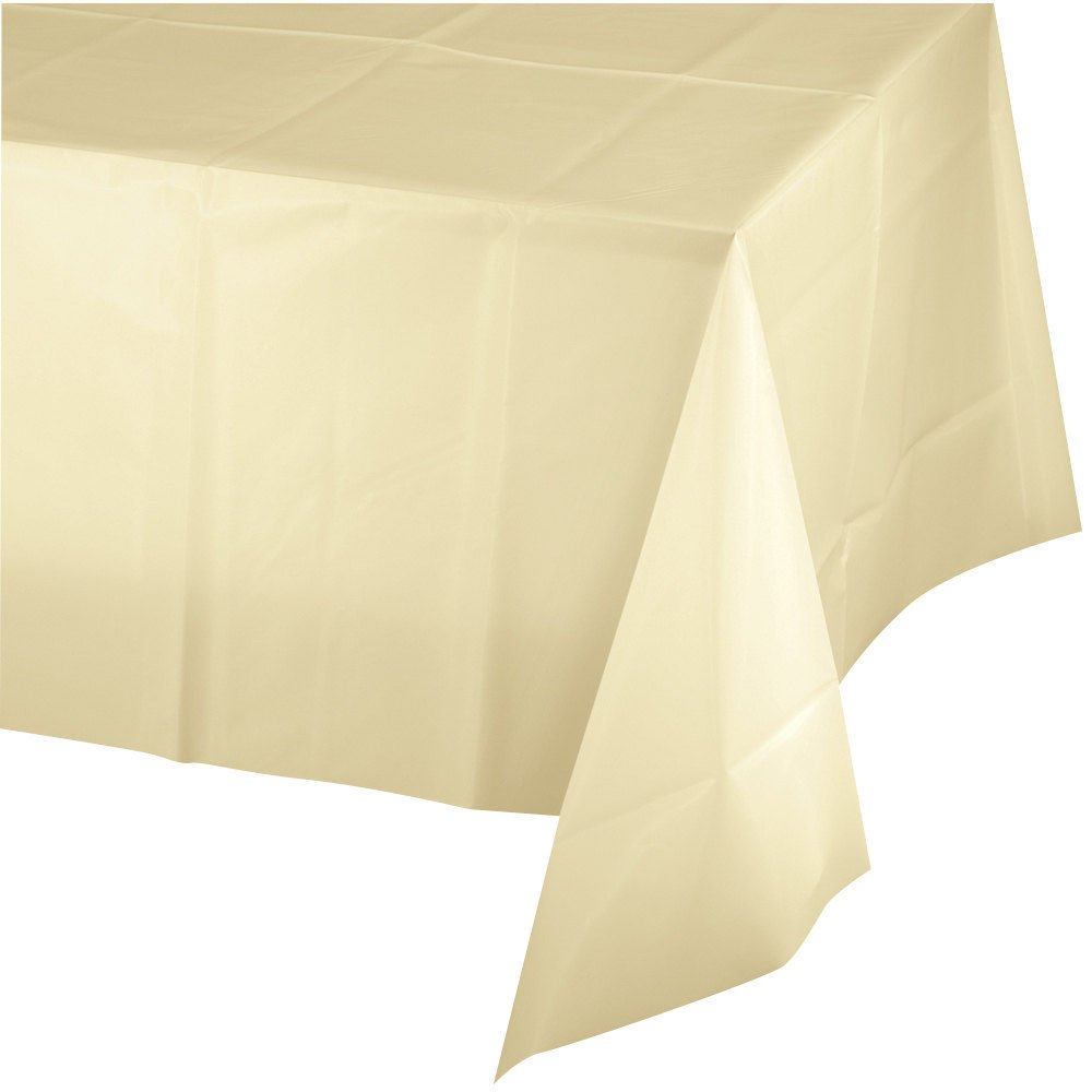 Mountclear 12-Pack Disposable Plastic Tablecloths 54'' x 108'' Rectangle Table Cover (IVORY)