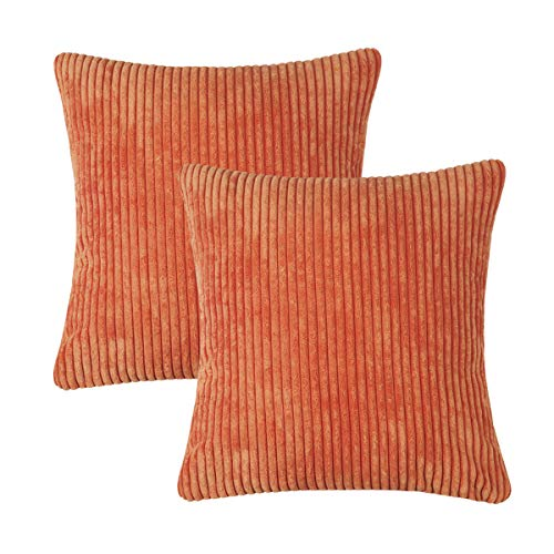 CARRIE HOME Set of 2 Ultra Soft Striped Corduroy Orange Throw Pillow Covers for Couch Sofa Patio 18 x 18 inch (Orange Both Sides)