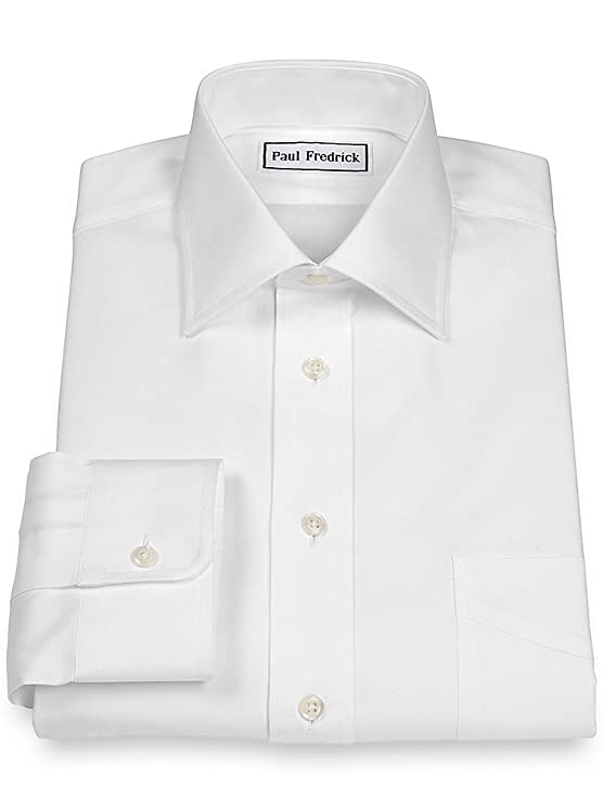 1920s Tennis Clothes | Womens and Men's Outfits Paul Fredrick Mens Pinpoint Windsor Spread Collar Button Cuff Dress Shirt $95.00 AT vintagedancer.com