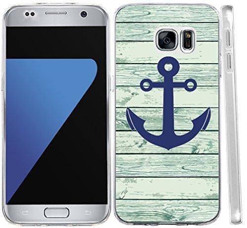 S6 Case Anchor,S6 Case Anchor Design, Hungo For Samsung Galaxy S6 Soft Tpu Silicone Protective Cover Blue Retro Anchor Design (Silicone Design)