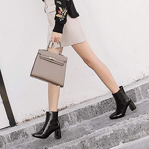 Olici Damen-     Elegante Arbeits-   Freizeitstiefel mit hohem 7 cm Reißverschluss vorne, quadratischer Kopf, Dicker Absatz aus Lackleder, Ma Dingxue b37366