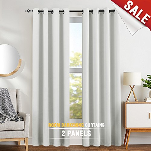Eyelet Curtains White - Moderate Blackout Curtains White Curtains 84 inch Bedroom Curtains Living Room Darkening Window Curtain Panels 84 inches Long Thermal Insulated Grommet Top Triple Weave Drapes, 1 Pair, Greyish White