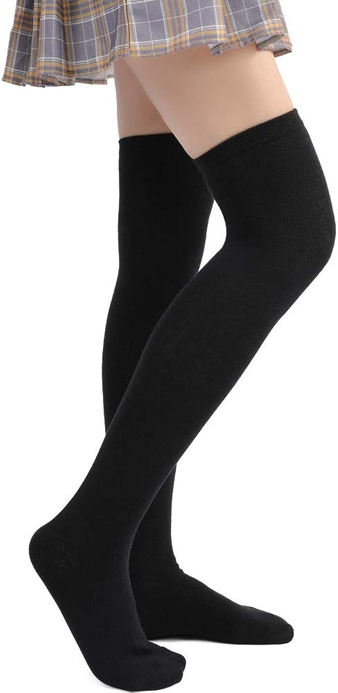 Soudittur Calcetines Hasta la Rodilla para Mujer Invierno Cálido Medias de Algodón Retro Calcetines Largos Overknee Calcetines Altos Deportivos (1 par de negro - A): Amazon.es: Ropa y accesorios