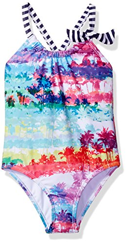 Price comparison product image Big Chill Little Girls' Palm Tree Stamp Print One Piece Swimsuit, Pink, 5/6