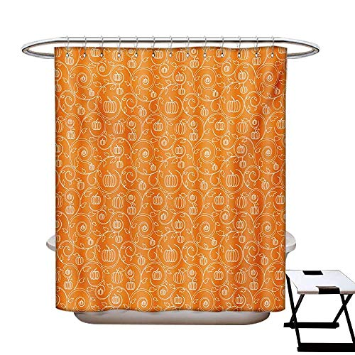 BlountDecor Harvest Shower Curtains with Shower Hooks Pattern with Pumpkin Leaves and Swirls on Orange Backdrop Halloween Inspired Fabric Bathroom Set with Hooks W54 x L78 Orange White