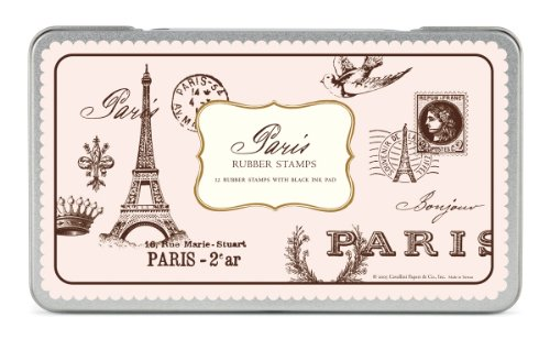 Cavallini Rubber Stamps Paris, Assorted with Ink Pad -