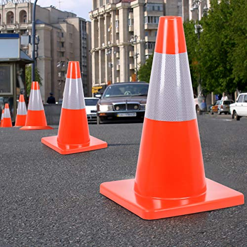 Goplus 5PCS Traffic Cones 18'' PVC Safety Road Parking Cones Driving Construction Cones Orange with 6'' Reflective Strips Collar by Goplus (Image #3)