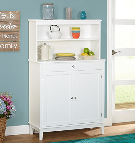 Farmhouse Buffet and Hutch, Contemporary, Modern Design, 1 Drawer, and an Adjustable Shelf Behind 2 Doors, Country Style, Sturdy, Durable and Long-Lasting Wood Construction, White Finish
