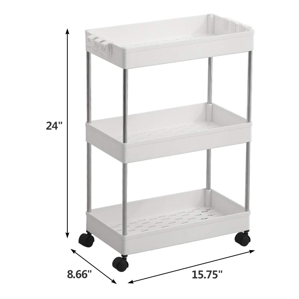 Out Pantry on Rollers for Office Bathroom White Mobile Shelving with 3 Storage Baskets Bedroom SPACEKEEPER 3-Tier Utility Rolling Cart Mobile Storage Organizer Shelving Tower Rack Kitchen